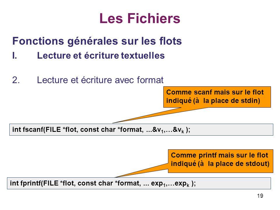 19 Les Fichiers Fonctions générales sur les flots I.Lecture et écriture textuelles 2.Lecture et écriture avec format int fscanf(FILE *flot, const char
