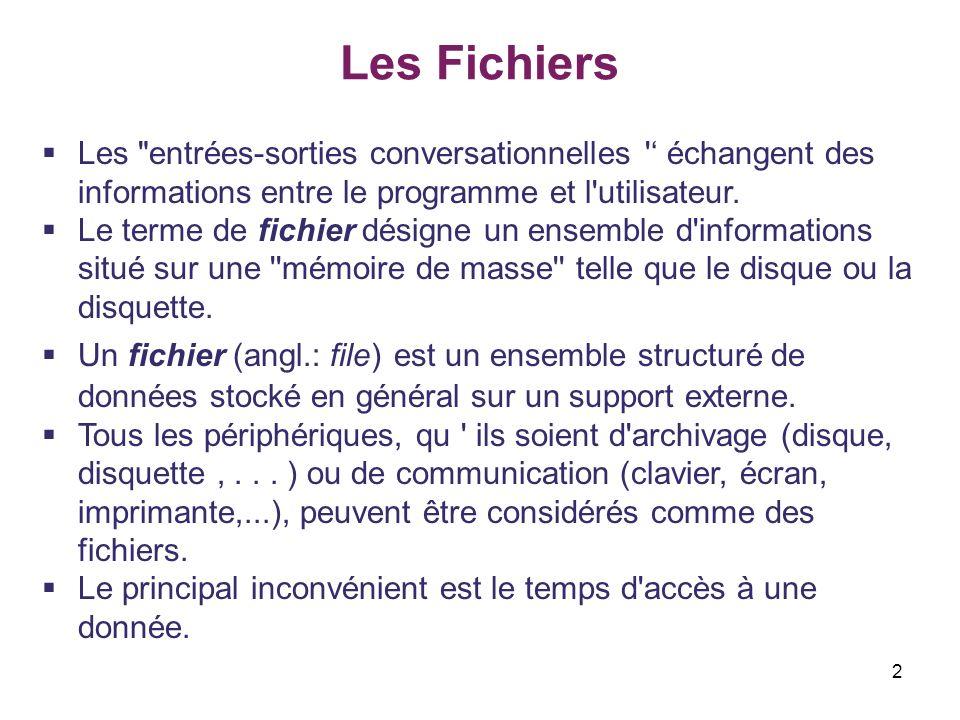 23 Les Fichiers Fonctions générales sur les flots I.Lecture et écriture textuelles Exemple do { printf( \nnom: ); gets(nom); 2/2 printf( prix: ); scanf( %f ,&prix);fflush(stdin); fprintf(p, %s\n%f ,nom,prix); printf( Enregistremen suivant?O/N: ); } while(toupper(getch())== O ); fclose(p); p=fopen(f_nom, r ); if(p==NULL) { printf( Le fichier n est pas ouvert\n ); exit(1); } while(fscanf(p, %s%f ,nom,&prix)!=EOF) printf( \n%s %.2f ,nom,prix); fclose(p); } Création du fichier.