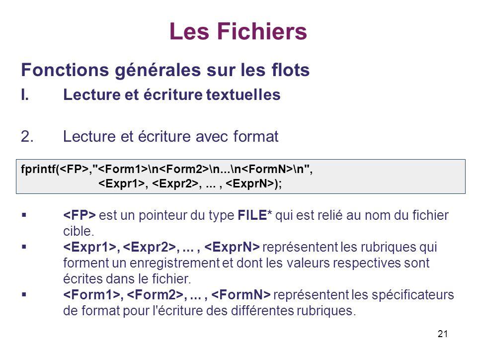 21 Les Fichiers Fonctions générales sur les flots I.Lecture et écriture textuelles 2.Lecture et écriture avec format est un pointeur du type FILE* qui