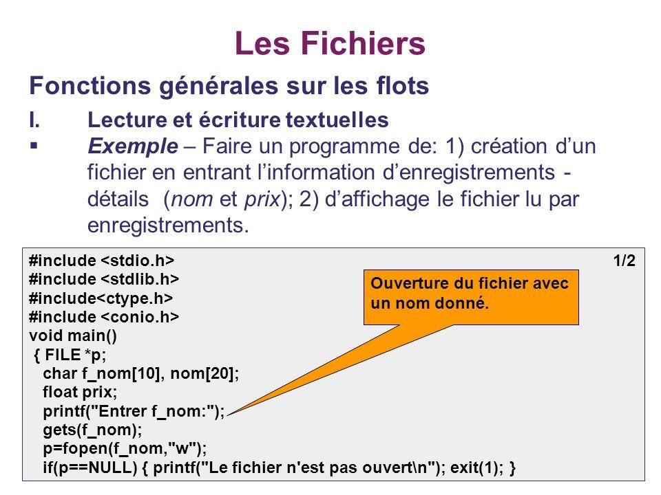 22 Les Fichiers Fonctions générales sur les flots I.Lecture et écriture textuelles Exemple – Faire un programme de: 1) création dun fichier en entrant