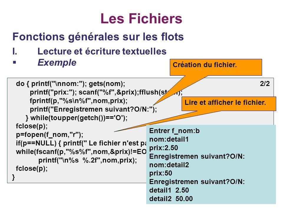 23 Les Fichiers Fonctions générales sur les flots I.Lecture et écriture textuelles Exemple do { printf(