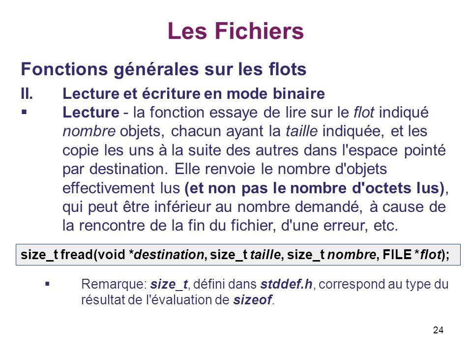 24 Les Fichiers Fonctions générales sur les flots II.Lecture et écriture en mode binaire Lecture - la fonction essaye de lire sur le flot indiqué nomb