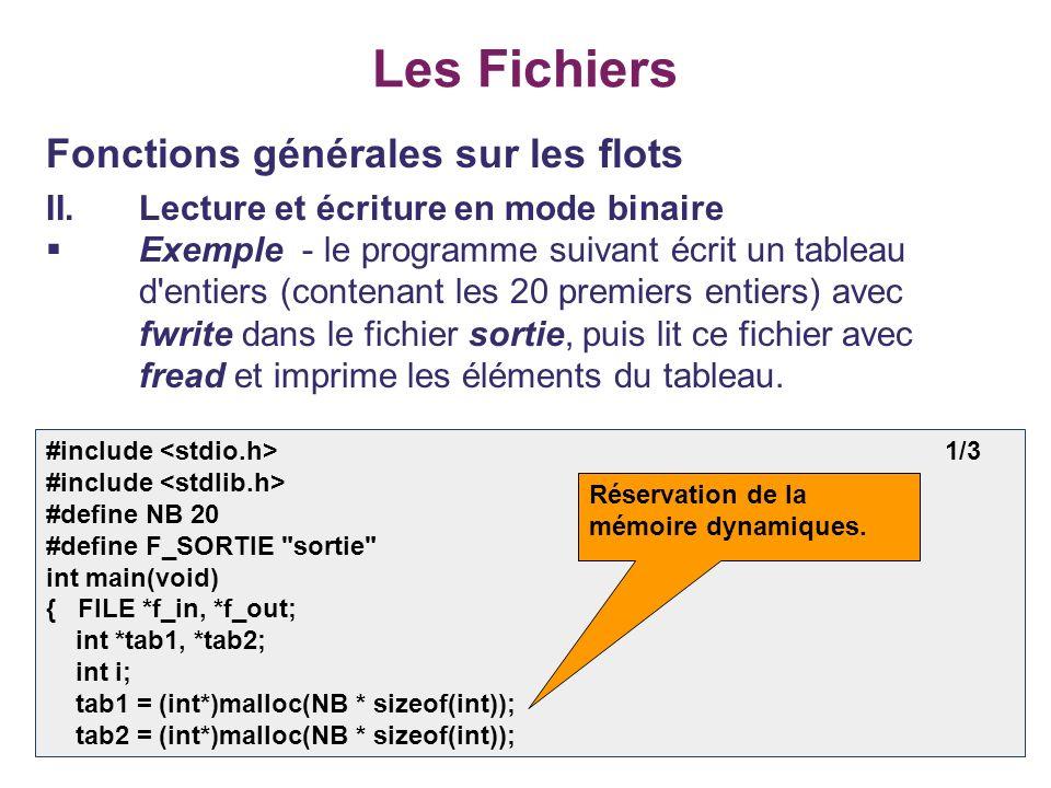28 Les Fichiers Fonctions générales sur les flots II.Lecture et écriture en mode binaire Exemple - le programme suivant écrit un tableau d'entiers (co