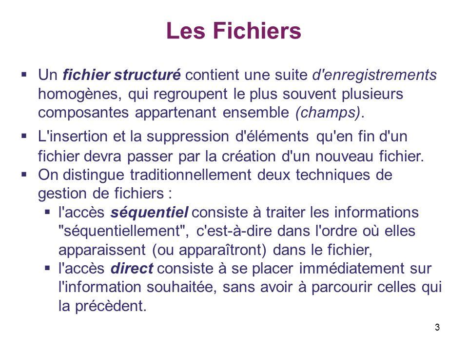 4 Les Fichiers Fichier séquentiel Les enregistrements sont mémorisés consécutivement dans l ordre de leur entrée et peuvent seulement être lus dans cet ordre.