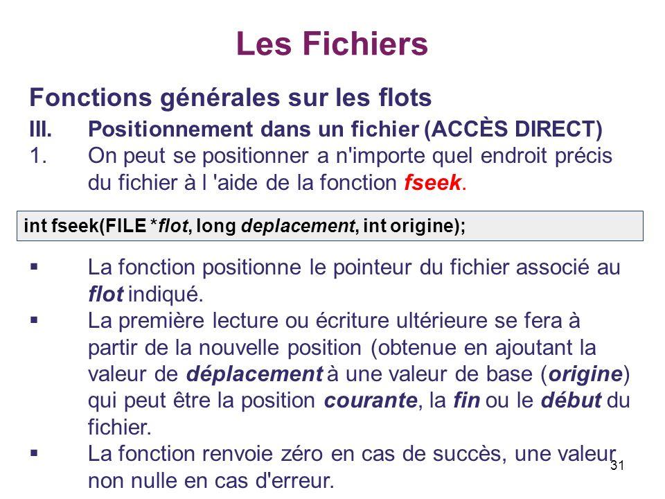 31 Les Fichiers Fonctions générales sur les flots III.Positionnement dans un fichier (ACCÈS DIRECT) 1.On peut se positionner а n'importe quel endroit