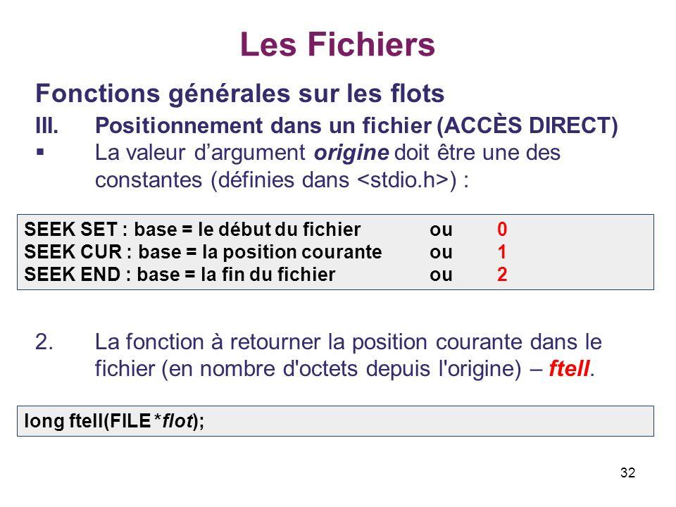 32 Les Fichiers Fonctions générales sur les flots III.Positionnement dans un fichier (ACCÈS DIRECT) La valeur dargument origine doit être une des cons