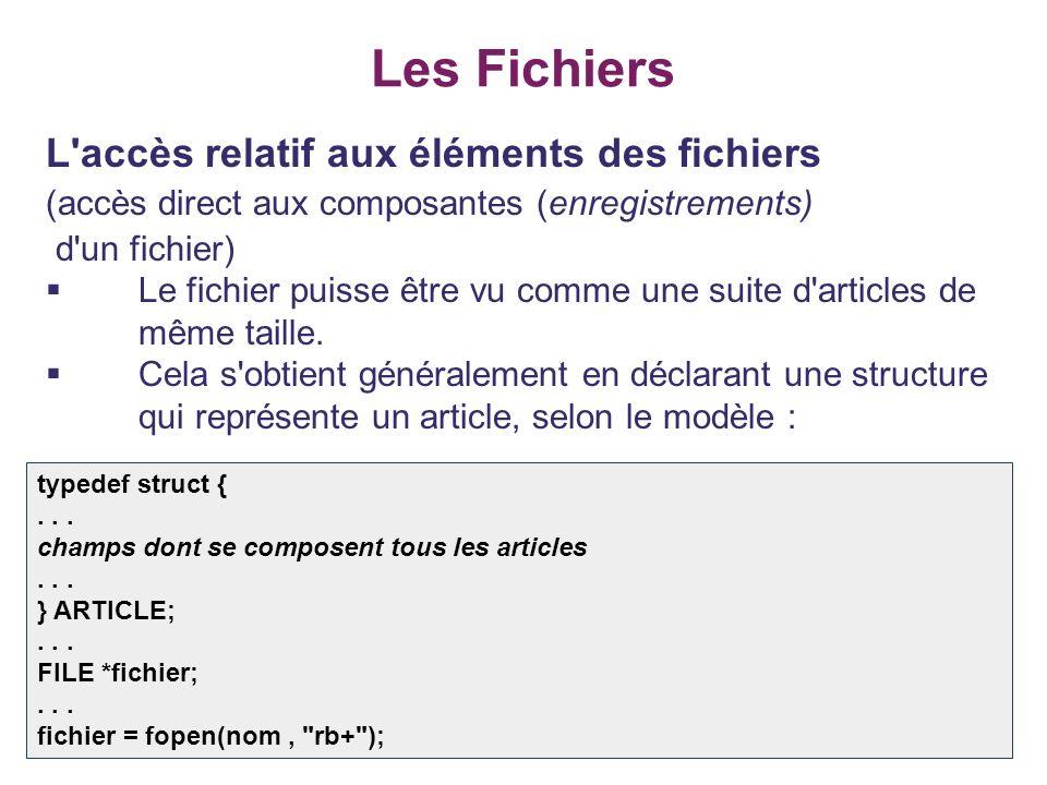 34 Les Fichiers L'accès relatif aux éléments des fichiers (accès direct aux composantes (enregistrements) d'un fichier) Le fichier puisse être vu comm