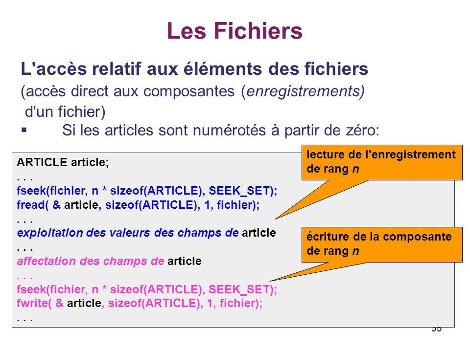 35 Les Fichiers L'accès relatif aux éléments des fichiers (accès direct aux composantes (enregistrements) d'un fichier) Si les articles sont numérotés
