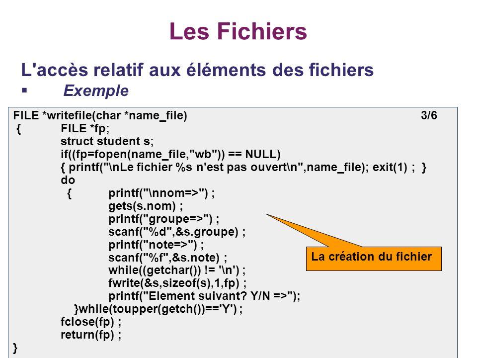 40 Les Fichiers L'accès relatif aux éléments des fichiers Exemple FILE *writefile(char *name_file) 3/6 {FILE *fp; struct student s; if((fp=fopen(name_
