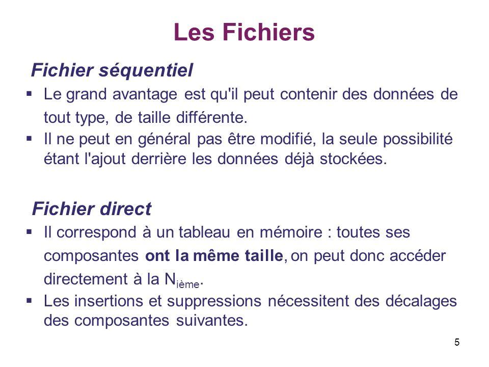 36 Les Fichiers L accès relatif aux éléments des fichiers Exemple – faire un programme de constituer un fichier d entiers en laissant l utilisateur les fournir dans l ordre de son choix.