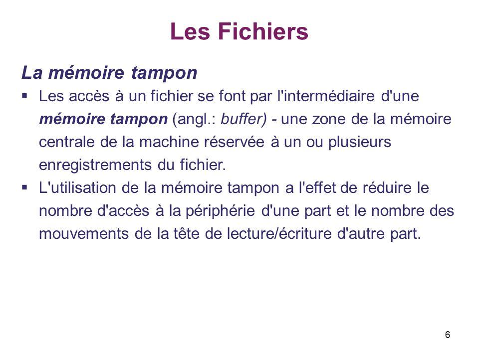 27 Les Fichiers Fonctions générales sur les flots II.Lecture et écriture en mode binaire Exemple do 2/2 { printf ( donnez un entier : ) ; scanf ( %d , &n) ; if (n) fwrite(&n, sizeof(int), 1, sortie) ; } while (n) ; fclose (sortie) ; entree = fopen (nomfich, rb ) ; if(entree == NULL) { printf( Le fichier n est pas ouvert\n ); exit(1); } while ( fread (&n, sizeof(int), 1, entree), .