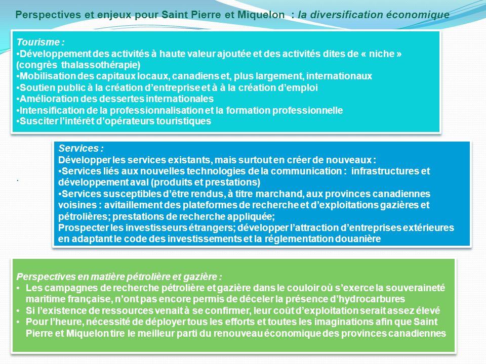 Perspectives et enjeux pour Saint Pierre et Miquelon : la diversification économique.