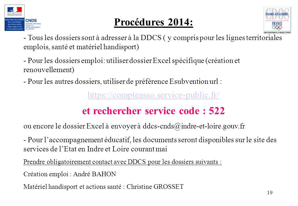 19 Procédures 2014: - Tous les dossiers sont à adresser à la DDCS ( y compris pour les lignes territoriales emplois, santé et matériel handisport) - P