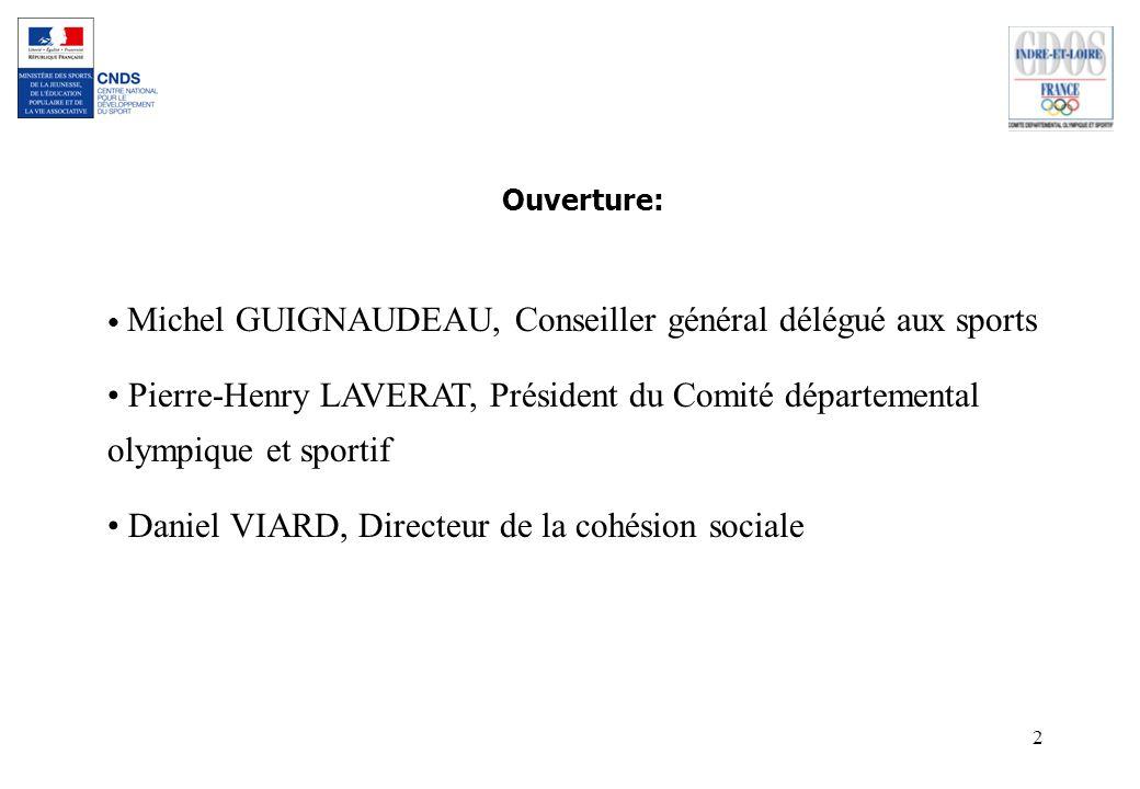 2 Ouverture: Michel GUIGNAUDEAU, Conseiller général délégué aux sports Pierre-Henry LAVERAT, Président du Comité départemental olympique et sportif Da