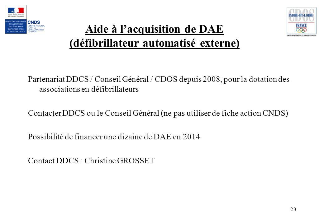 23 Aide à lacquisition de DAE (défibrillateur automatisé externe) Partenariat DDCS / Conseil Général / CDOS depuis 2008, pour la dotation des associat