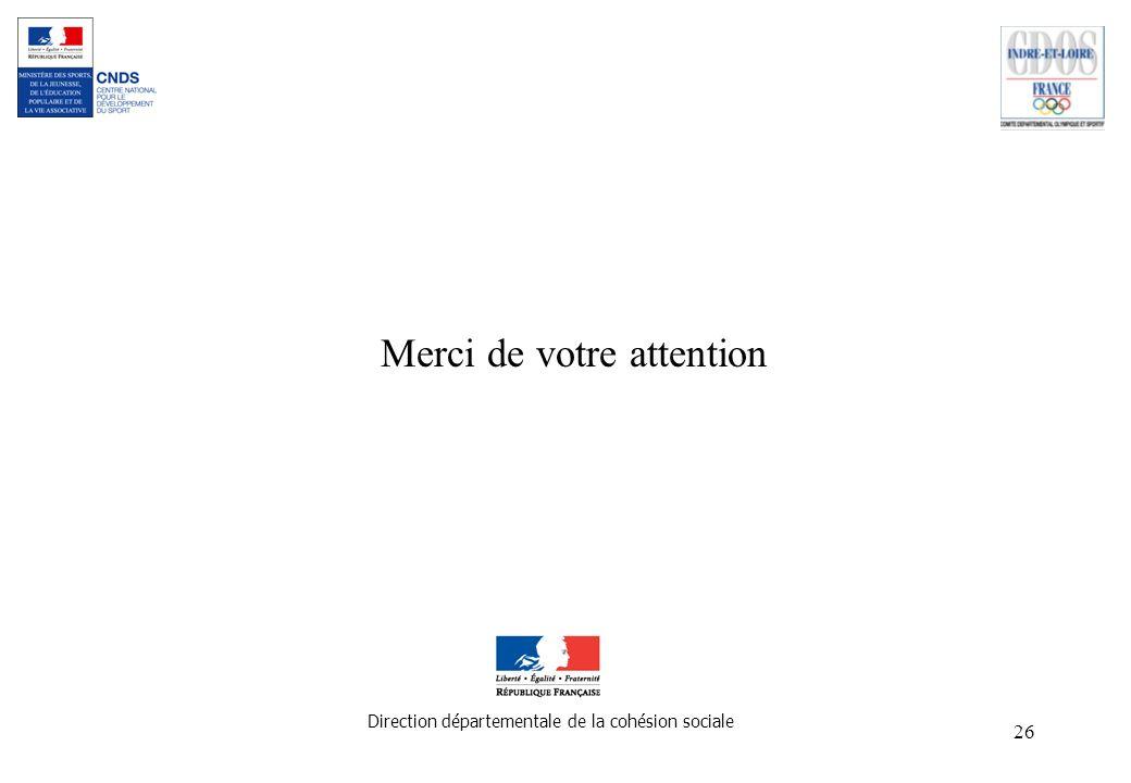 26 Merci de votre attention Direction départementale de la cohésion sociale