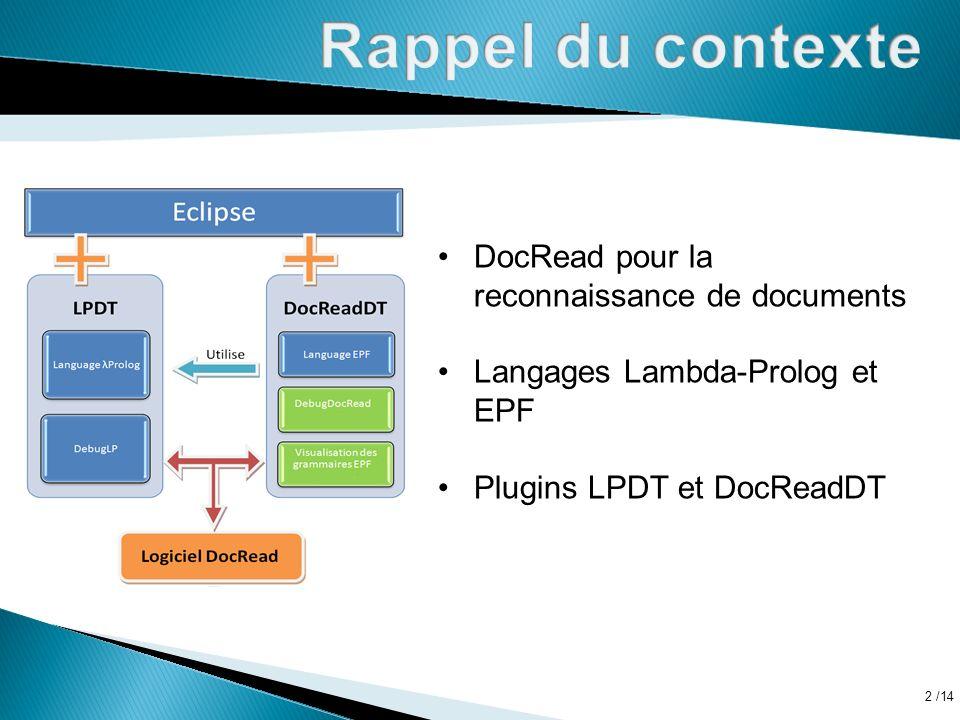 /14 2 DocRead pour la reconnaissance de documents Langages Lambda-Prolog et EPF Plugins LPDT et DocReadDT