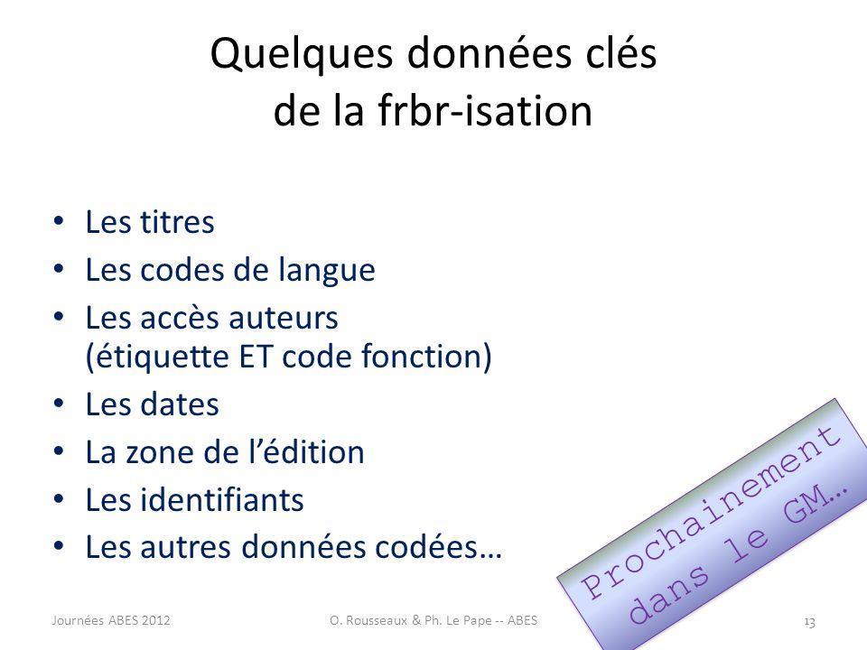 Quelques données clés de la frbr-isation Les titres Les codes de langue Les accès auteurs (étiquette ET code fonction) Les dates La zone de lédition L