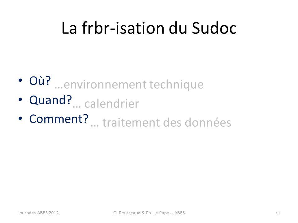 La frbr-isation du Sudoc Où? Quand? Comment? …environnement technique … calendrier … traitement des données 14Journées ABES 2012O. Rousseaux & Ph. Le