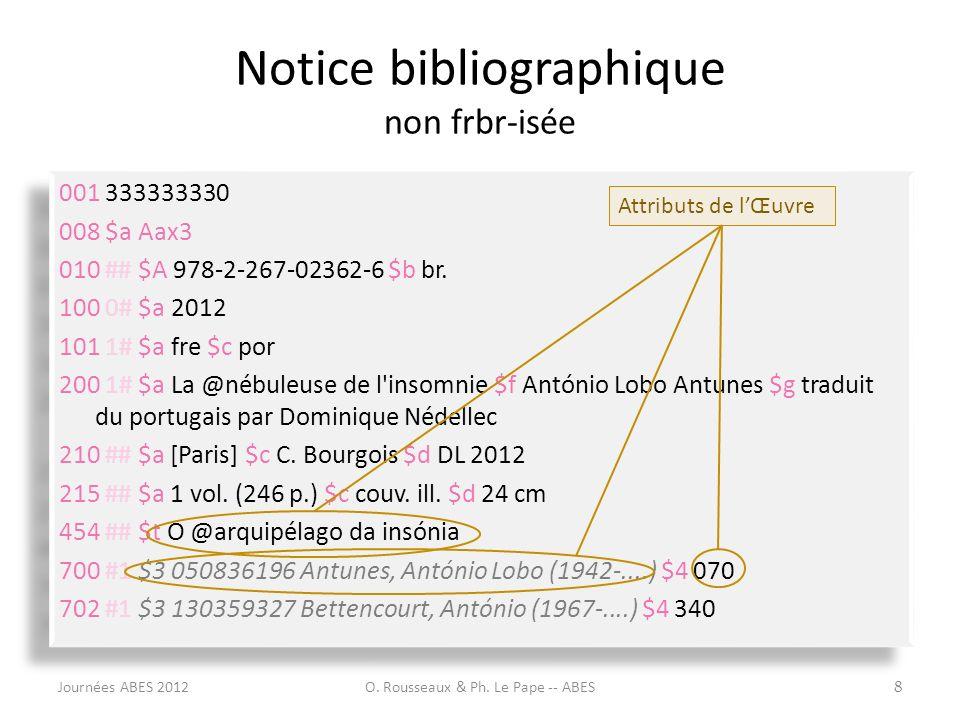 Notice bibliographique non frbr-isée 001 333333330 008 $a Aax3 010 ## $A 978-2-267-02362-6 $b br. 100 0# $a 2012 101 1# $a fre $c por 200 1# $a La @né