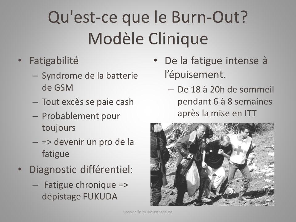 Qu'est-ce que le Burn-Out? Modèle Clinique Fatigabilité – Syndrome de la batterie de GSM – Tout excès se paie cash – Probablement pour toujours – => d
