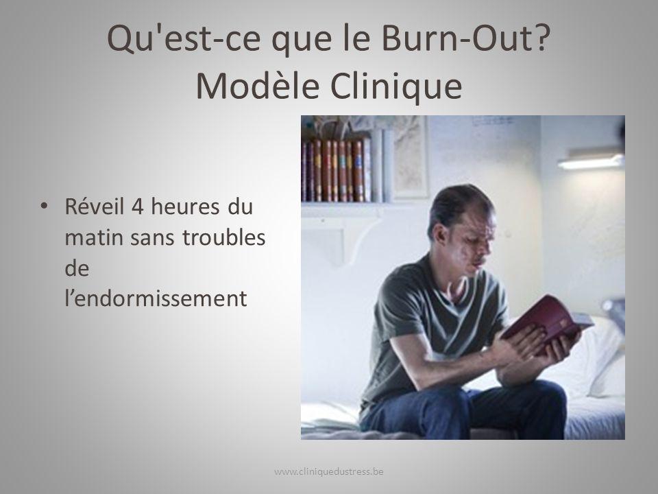 Qu'est-ce que le Burn-Out? Modèle Clinique Réveil 4 heures du matin sans troubles de lendormissement www.cliniquedustress.be