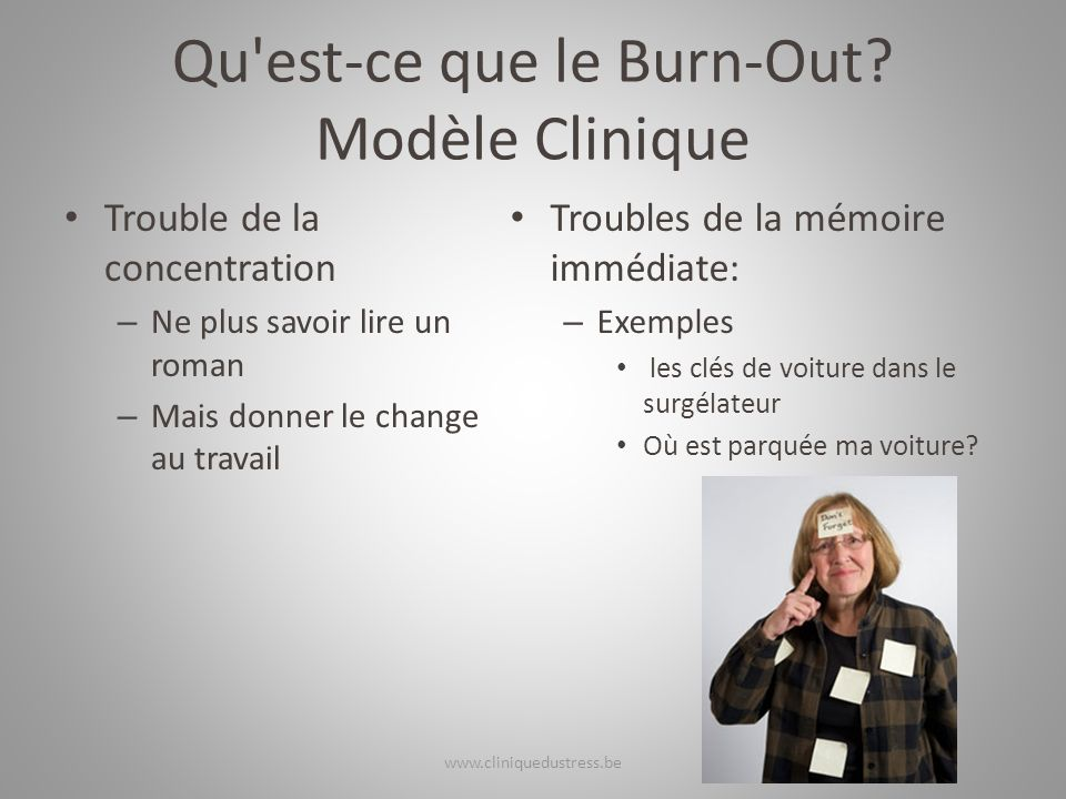 Qu'est-ce que le Burn-Out? Modèle Clinique Trouble de la concentration – Ne plus savoir lire un roman – Mais donner le change au travail Troubles de l