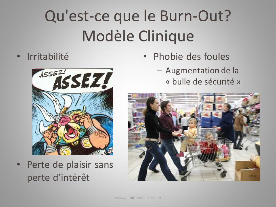 Qu'est-ce que le Burn-Out? Modèle Clinique Irritabilité Perte de plaisir sans perte dintérêt Phobie des foules – Augmentation de la « bulle de sécurit