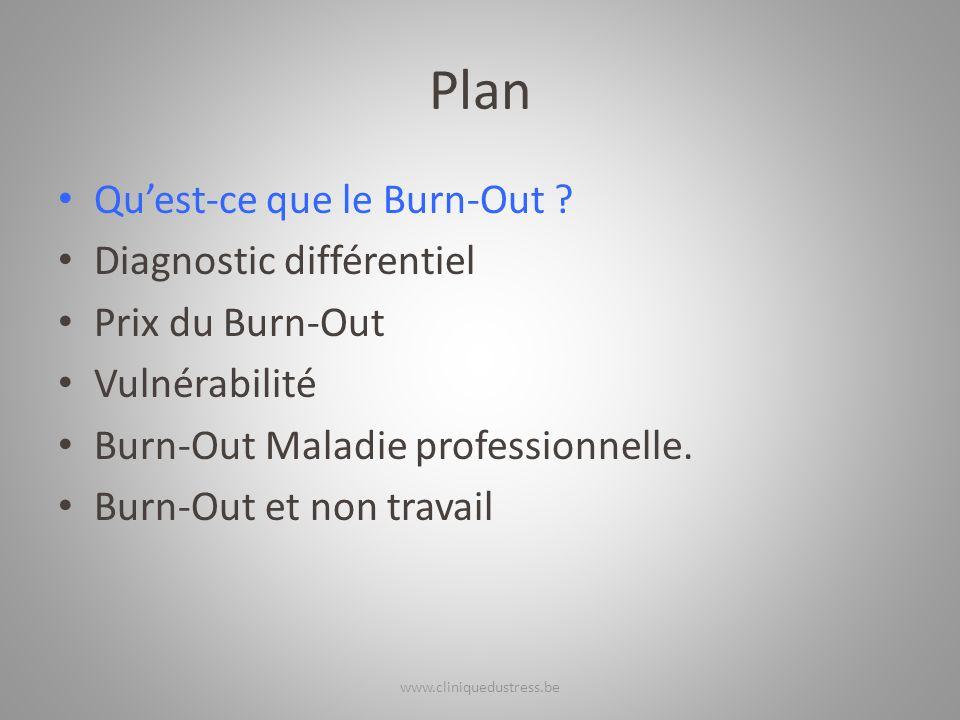 Plan Quest-ce que le Burn-Out ? Diagnostic différentiel Prix du Burn-Out Vulnérabilité Burn-Out Maladie professionnelle. Burn-Out et non travail www.c