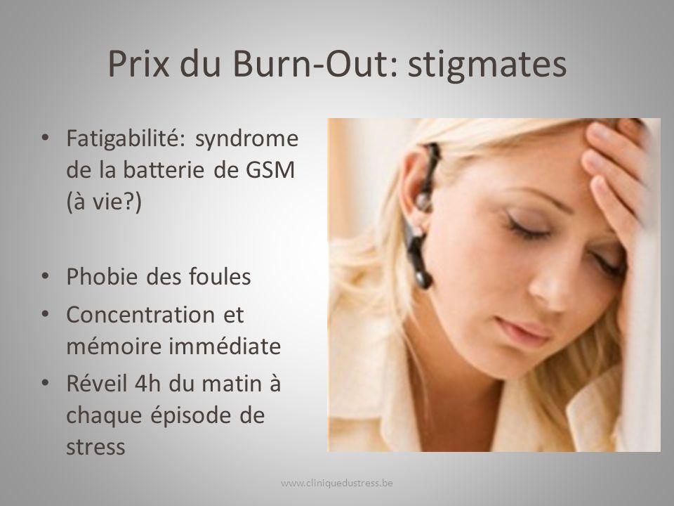 Prix du Burn-Out: stigmates Fatigabilité: syndrome de la batterie de GSM (à vie?) Phobie des foules Concentration et mémoire immédiate Réveil 4h du ma