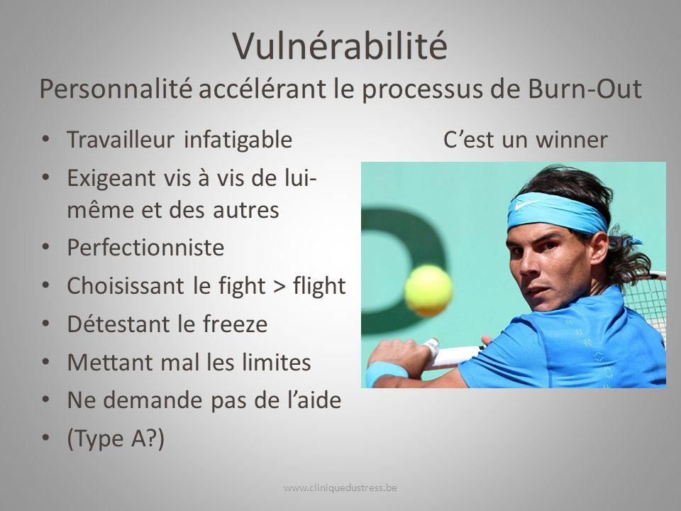 Vulnérabilité Personnalité accélérant le processus de Burn-Out Travailleur infatigable Exigeant vis à vis de lui- même et des autres Perfectionniste C