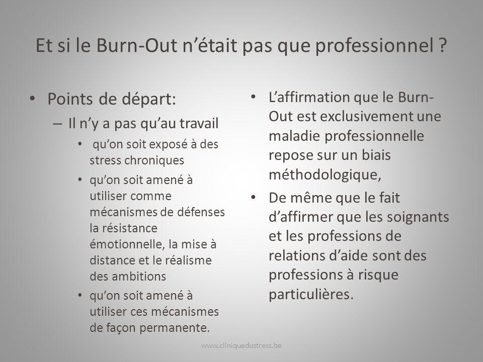 Et si le Burn-Out nétait pas que professionnel ? Points de départ: – Il ny a pas quau travail quon soit exposé à des stress chroniques quon soit amené