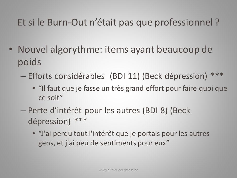 Et si le Burn-Out nétait pas que professionnel ? Nouvel algorythme: items ayant beaucoup de poids – Efforts considérables (BDI 11) (Beck dépression) *