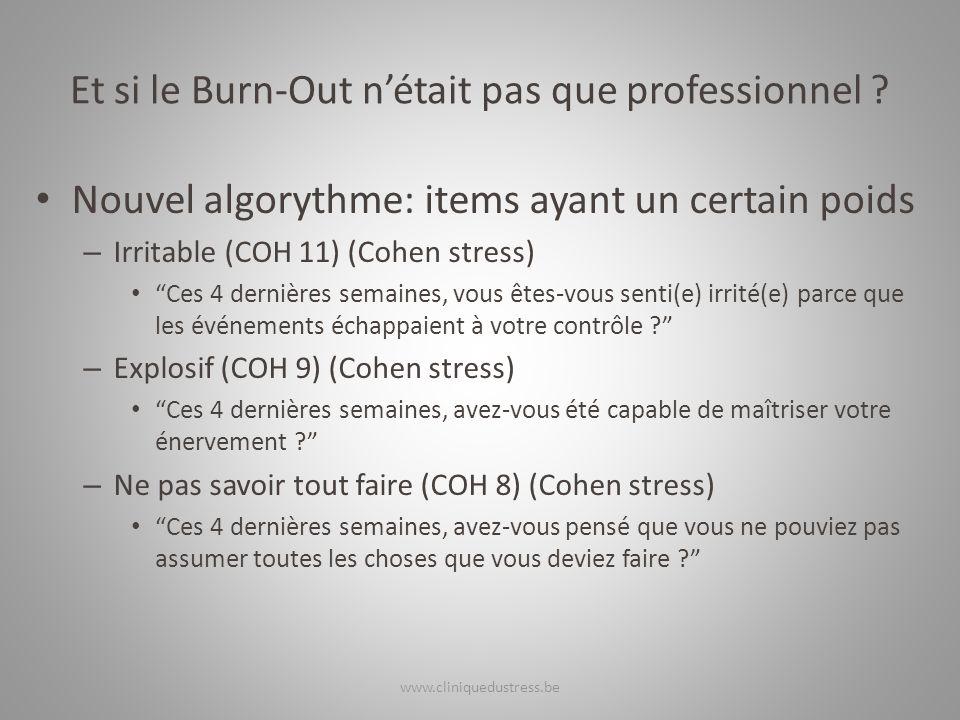Et si le Burn-Out nétait pas que professionnel ? Nouvel algorythme: items ayant un certain poids – Irritable (COH 11) (Cohen stress) Ces 4 dernières s