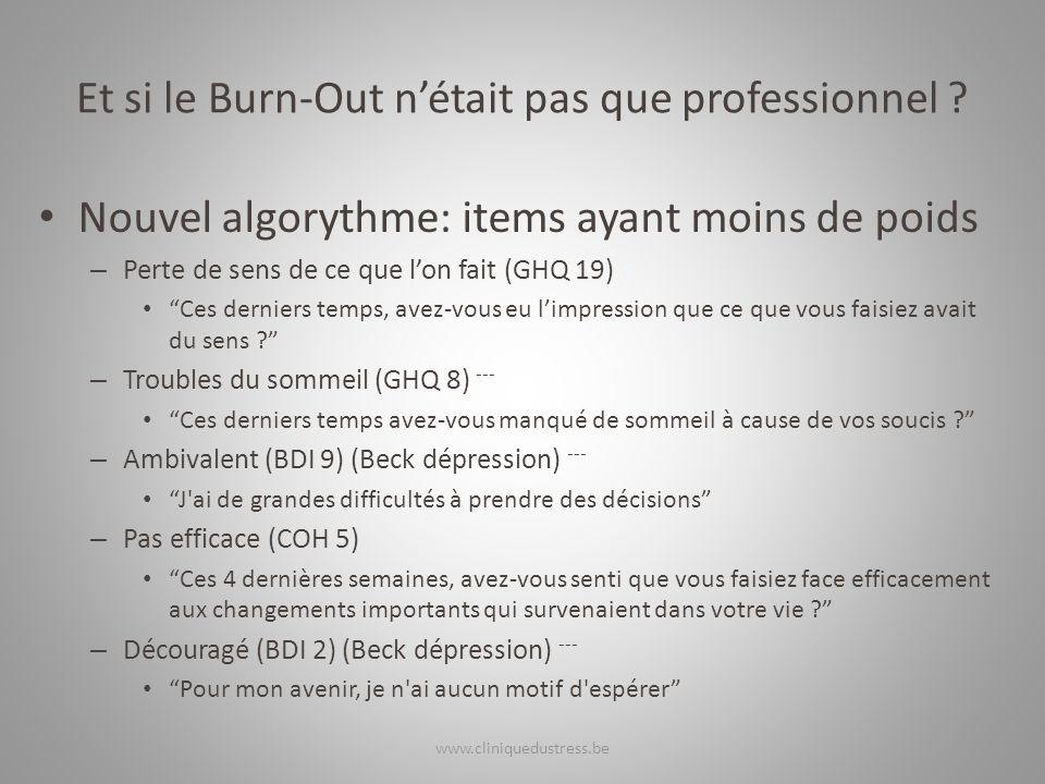 Et si le Burn-Out nétait pas que professionnel ? Nouvel algorythme: items ayant moins de poids – Perte de sens de ce que lon fait (GHQ 19) Ces dernier