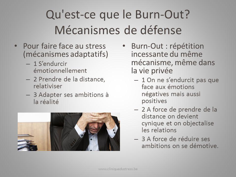 Qu'est-ce que le Burn-Out? Mécanismes de défense Pour faire face au stress (mécanismes adaptatifs) – 1 Sendurcir émotionnellement – 2 Prendre de la di