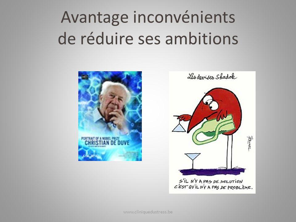 Avantage inconvénients de réduire ses ambitions www.cliniquedustress.be