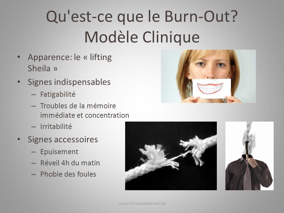 Qu'est-ce que le Burn-Out? Modèle Clinique Apparence: le « lifting Sheila » Signes indispensables – Fatigabilité – Troubles de la mémoire immédiate et