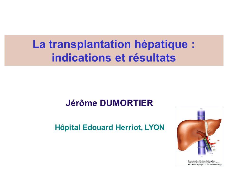La transplantation hépatique : indications et résultats Jérôme DUMORTIER Hôpital Edouard Herriot, LYON