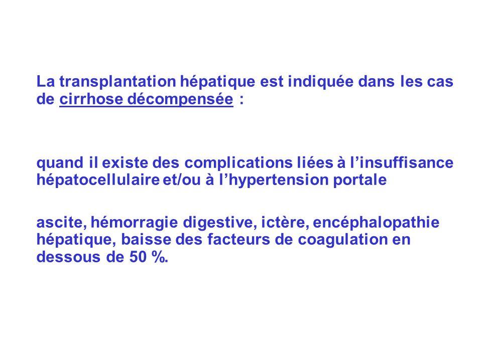 La transplantation hépatique est indiquée dans les cas de cirrhose décompensée : quand il existe des complications liées à linsuffisance hépatocellulaire et/ou à lhypertension portale ascite, hémorragie digestive, ictère, encéphalopathie hépatique, baisse des facteurs de coagulation en dessous de 50 %.