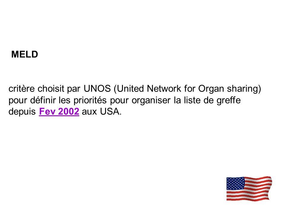 MELD critère choisit par UNOS (United Network for Organ sharing) pour définir les priorités pour organiser la liste de greffe depuis Fev 2002 aux USA.