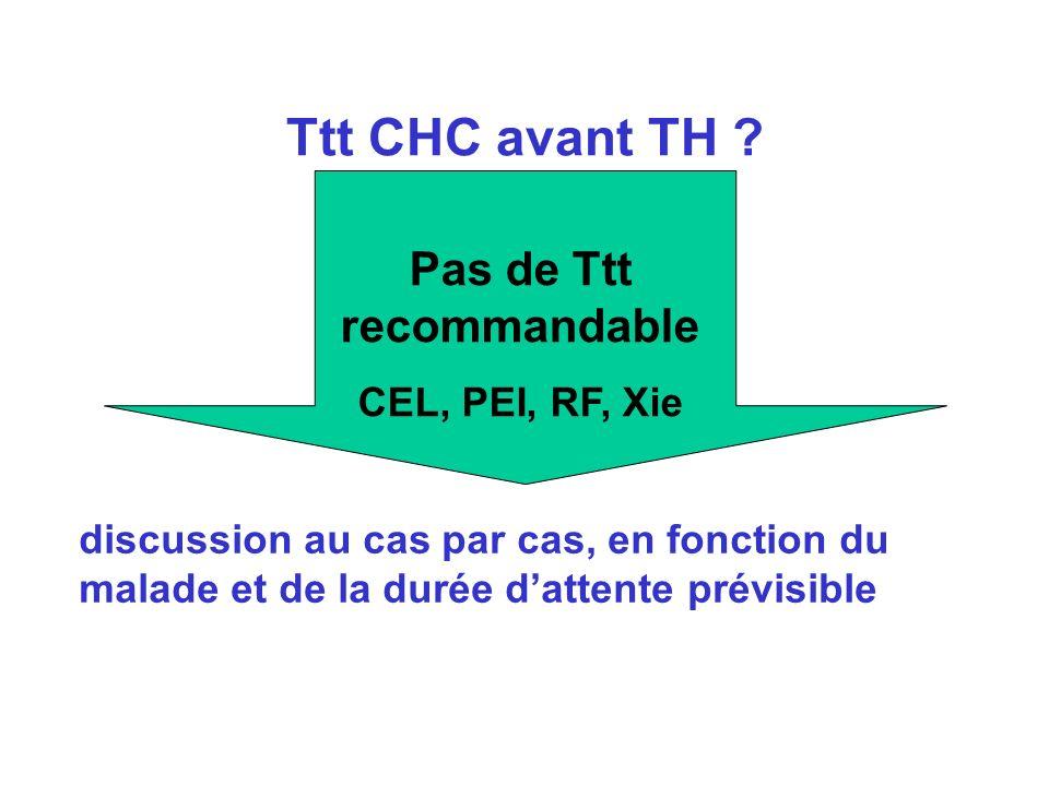 Ttt CHC avant TH ? discussion au cas par cas, en fonction du malade et de la durée dattente prévisible Pas de Ttt recommandable CEL, PEI, RF, Xie