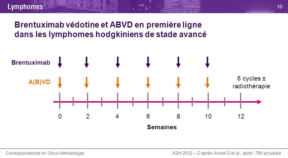 La Lettre du Cancérologue Brentuximab védotine et ABVD en première ligne dans les lymphomes hodgkiniens de stade avancé ASH 2012 – Daprès Ansell S et
