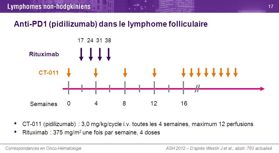 La Lettre du Cancérologue Anti-PD1 (pidilizumab) dans le lymphome folliculaire CT-011 (pidilizumab) : 3,0 mg/kg/cycle i.v. toutes les 4 semaines, maxi