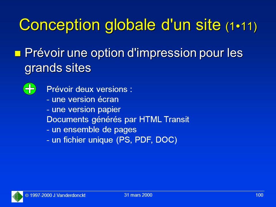 1997-2000 J.Vanderdonckt 31 mars 2000 100 Conception globale d'un site (1 11) n Prévoir une option d'impression pour les grands sites Prévoir deux ver