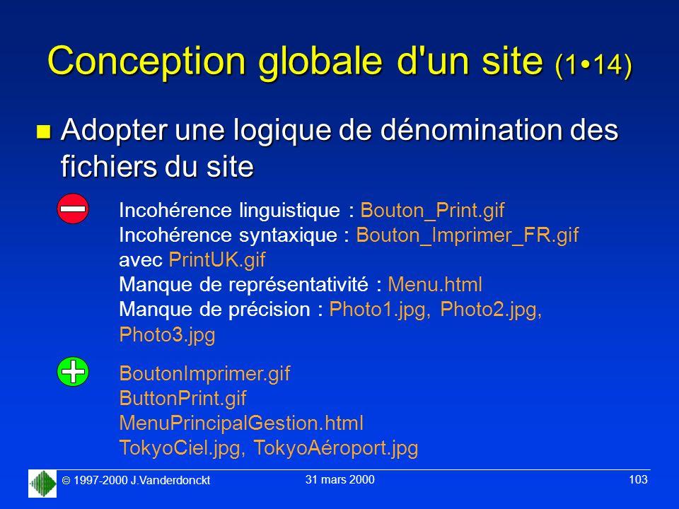 1997-2000 J.Vanderdonckt 31 mars 2000 103 Conception globale d'un site (1 14) n Adopter une logique de dénomination des fichiers du site Incohérence l