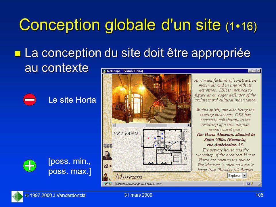1997-2000 J.Vanderdonckt 31 mars 2000 105 Conception globale d'un site (1 16) n La conception du site doit être appropriée au contexte Le site Horta [