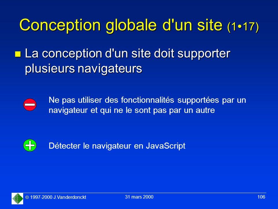 1997-2000 J.Vanderdonckt 31 mars 2000 106 Conception globale d'un site (1 17) n La conception d'un site doit supporter plusieurs navigateurs Ne pas ut