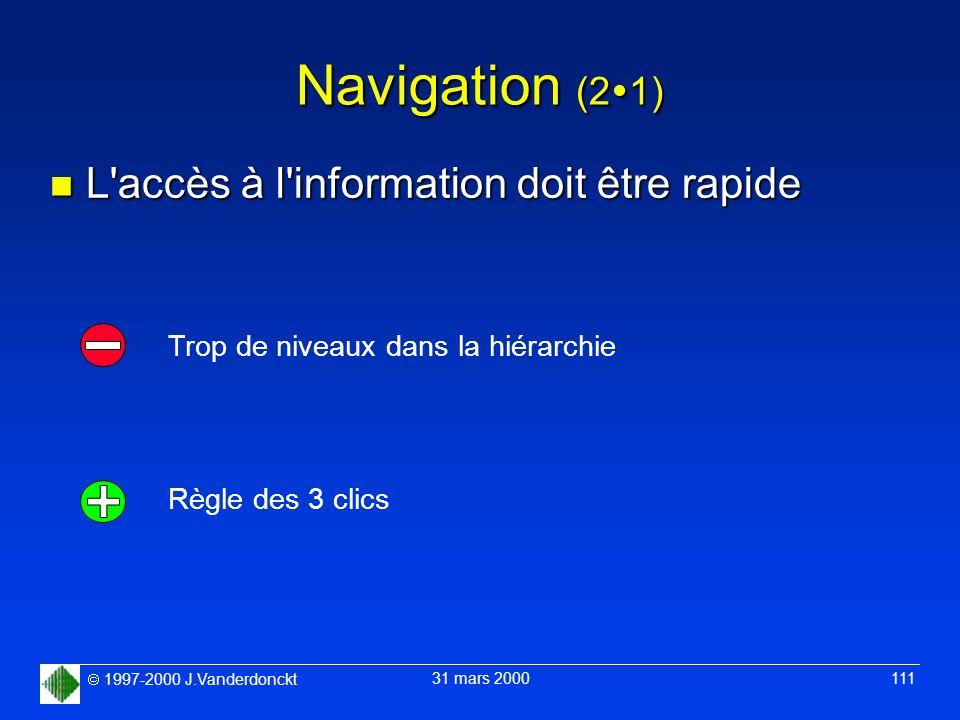 1997-2000 J.Vanderdonckt 31 mars 2000 111 Navigation (2 1) n L'accès à l'information doit être rapide Trop de niveaux dans la hiérarchie Règle des 3 c