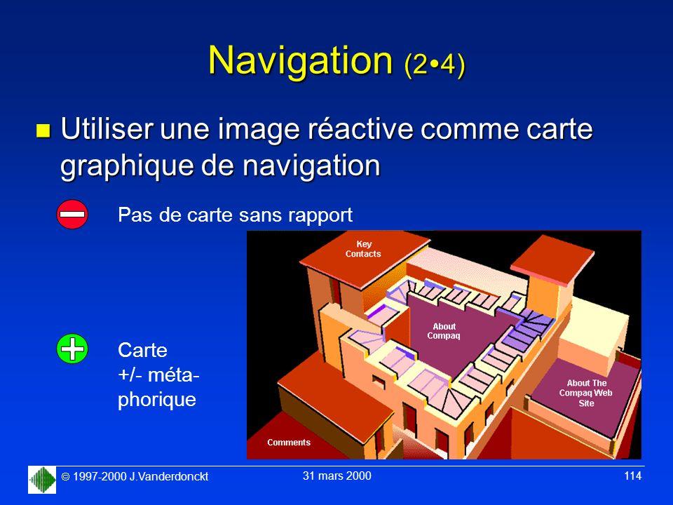 1997-2000 J.Vanderdonckt 31 mars 2000 114 Navigation (2 4) n Utiliser une image réactive comme carte graphique de navigation Pas de carte sans rapport